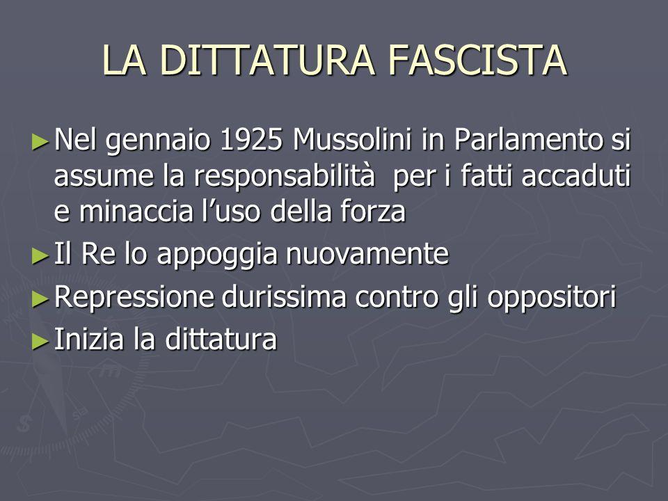 LA DITTATURA FASCISTA Nel gennaio 1925 Mussolini in Parlamento si assume la responsabilità per i fatti accaduti e minaccia luso della forza Nel gennai