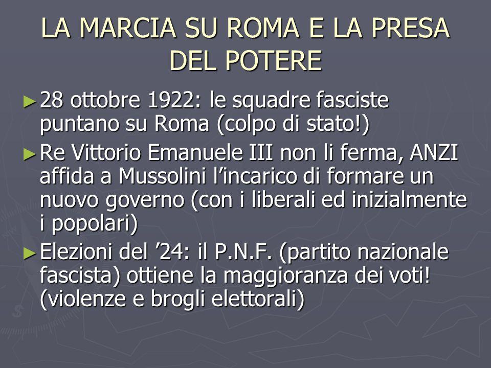 LA MARCIA SU ROMA E LA PRESA DEL POTERE 28 ottobre 1922: le squadre fasciste puntano su Roma (colpo di stato!) 28 ottobre 1922: le squadre fasciste pu