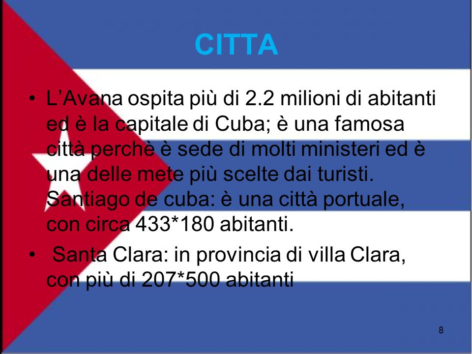 CITTA LAvana ospita più di 2.2 milioni di abitanti ed è la capitale di Cuba; è una famosa città perchè è sede di molti ministeri ed è una delle mete p