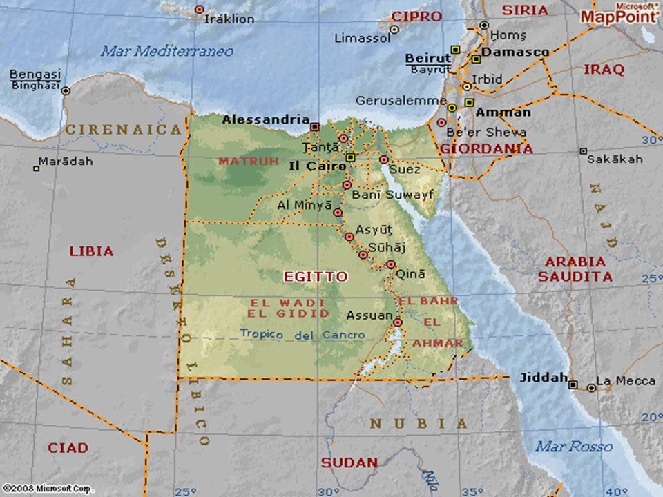 Geografia A nord è bagnato dal Mar Mediterraneo A est dal Mar Rosso A est confina con Israele A sud con il Sudan A ovest con la Libia A ovest c è il deserto libico
