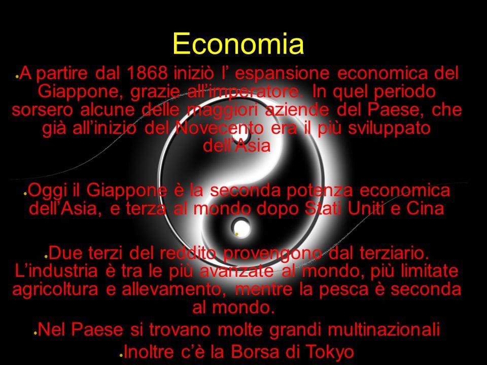 Economia A partire dal 1868 iniziò l espansione economica del Giappone, grazie allimperatore. In quel periodo sorsero alcune delle maggiori aziende de