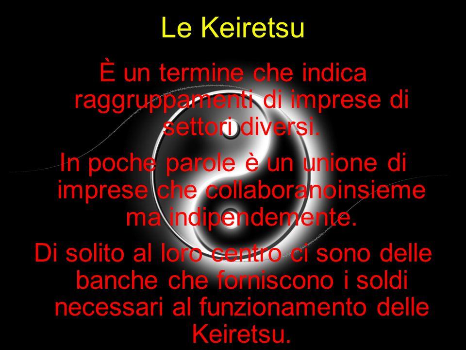 Le Keiretsu È un termine che indica raggruppamenti di imprese di settori diversi. In poche parole è un unione di imprese che collaboranoinsieme ma ind