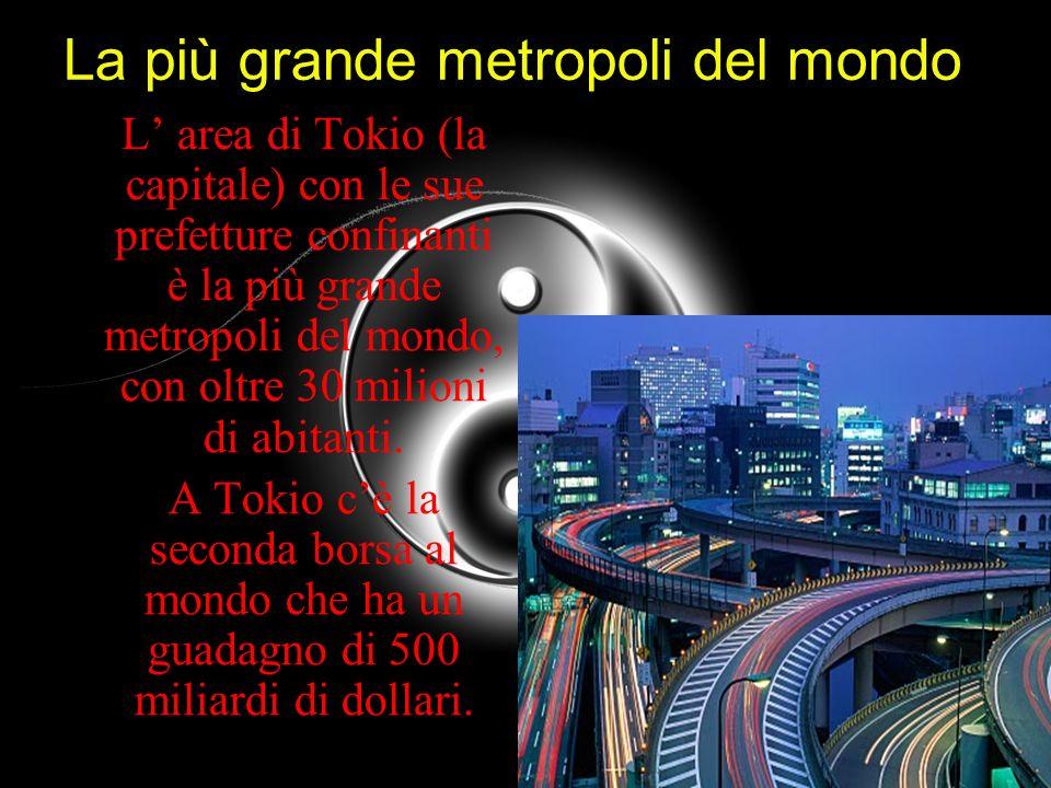 La più grande metropoli del mondo L area di Tokio (la capitale) con le sue prefetture confinanti è la più grande metropoli del mondo, con oltre 30 mil