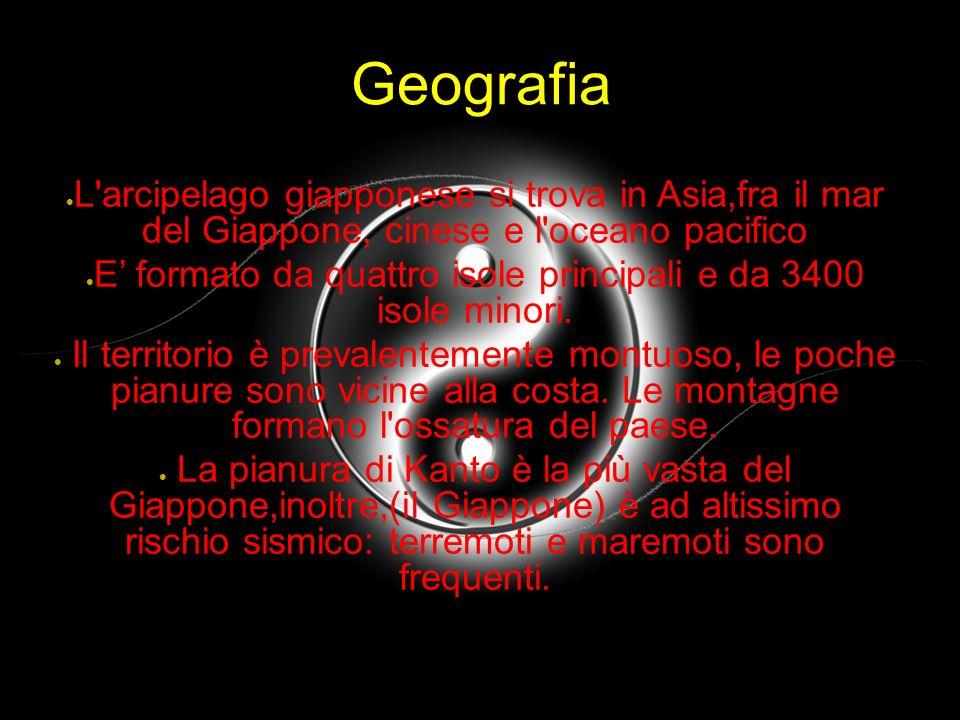 Geografia L'arcipelago giapponese si trova in Asia,fra il mar del Giappone, cinese e l'oceano pacifico E formato da quattro isole principali e da 3400
