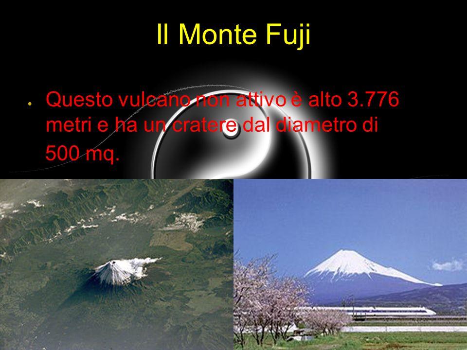 Il Monte Fuji Questo vulcano non attivo è alto 3.776 metri e ha un cratere dal diametro di 500 mq.
