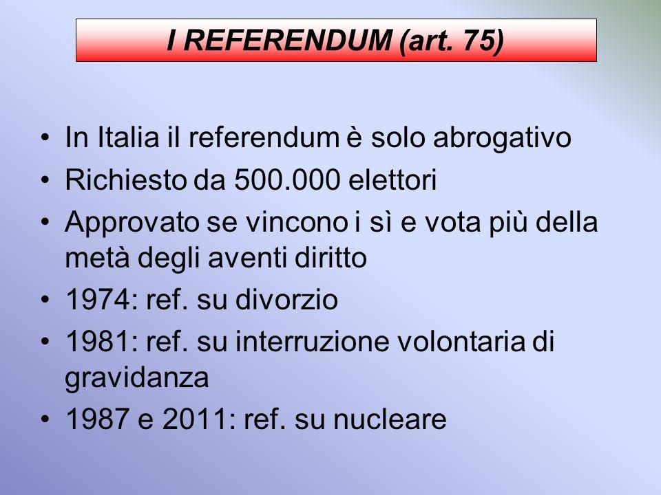 Sezione II: La formulazione delle leggi (artt.70-82) INIZIATIVA presa da: Parlamento Governo (esecutivo) Popolo (popolo con almeno 50000 firme) COMMIS