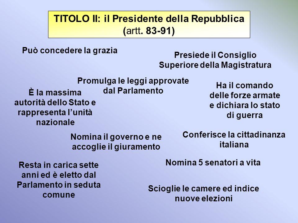 I REFERENDUM (art. 75) In Italia il referendum è solo abrogativo Richiesto da 500.000 elettori Approvato se vincono i sì e vota più della metà degli a