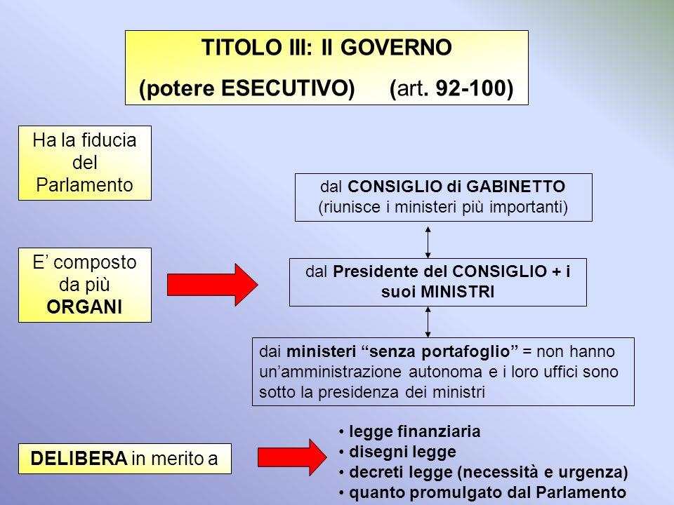 TITOLO II: il Presidente della Repubblica (artt. 83-91) È la massima autorità dello Stato e rappresenta lunità nazionale Resta in carica sette anni ed