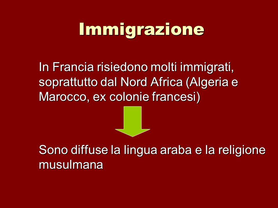 Immigrazione In Francia risiedono molti immigrati, soprattutto dal Nord Africa (Algeria e Marocco, ex colonie francesi) Sono diffuse la lingua araba e