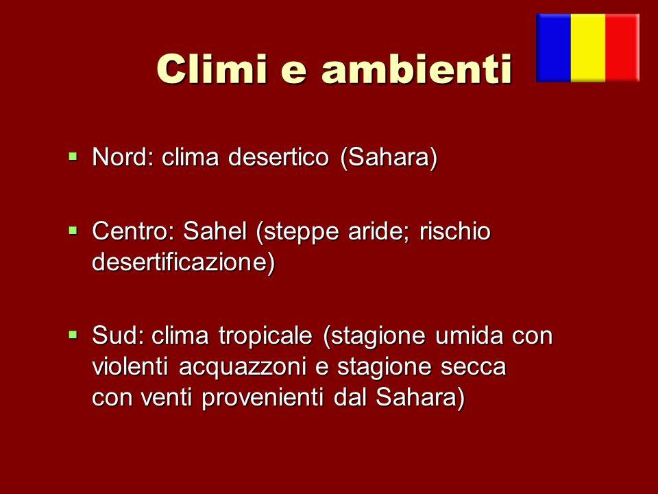 Climi e ambienti Nord: clima desertico (Sahara) Nord: clima desertico (Sahara) Centro: Sahel (steppe aride; rischio desertificazione) Centro: Sahel (s
