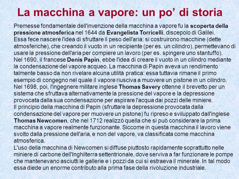 La macchina a vapore: un po di storia Premesse fondamentale dell'invenzione della macchina a vapore fu la scoperta della pressione atmosferica nel 164