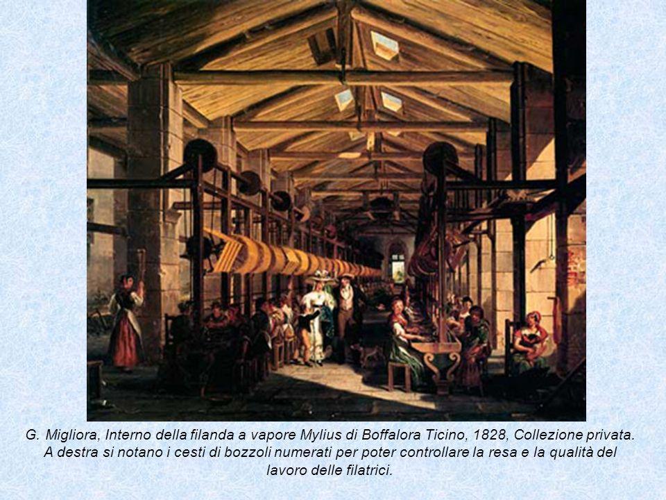 G. Migliora, Interno della filanda a vapore Mylius di Boffalora Ticino, 1828, Collezione privata. A destra si notano i cesti di bozzoli numerati per p
