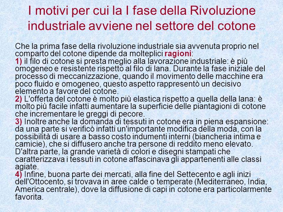I motivi per cui la I fase della Rivoluzione industriale avviene nel settore del cotone Che la prima fase della rivoluzione industriale sia avvenuta p