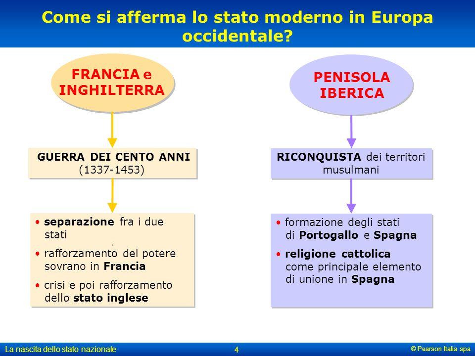 © Pearson Italia spa La nascita dello stato nazionale 4 Come si afferma lo stato moderno in Europa occidentale? RICONQUISTA dei territori musulmani fo