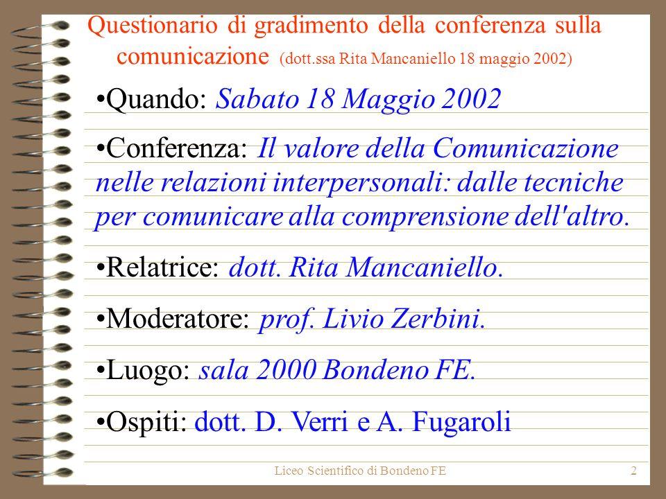 Liceo Scientifico di Bondeno FE2 Questionario di gradimento della conferenza sulla comunicazione (dott.ssa Rita Mancaniello 18 maggio 2002) Quando: Sa