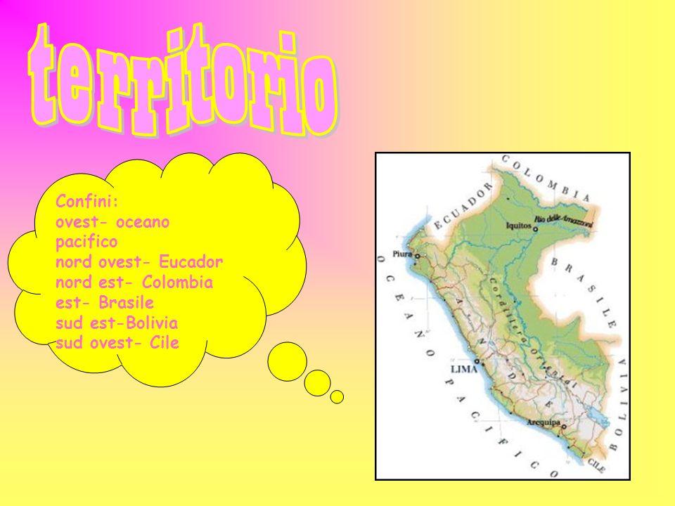 Confini: ovest- oceano pacifico nord ovest- Eucador nord est- Colombia est- Brasile sud est-Bolivia sud ovest- Cile