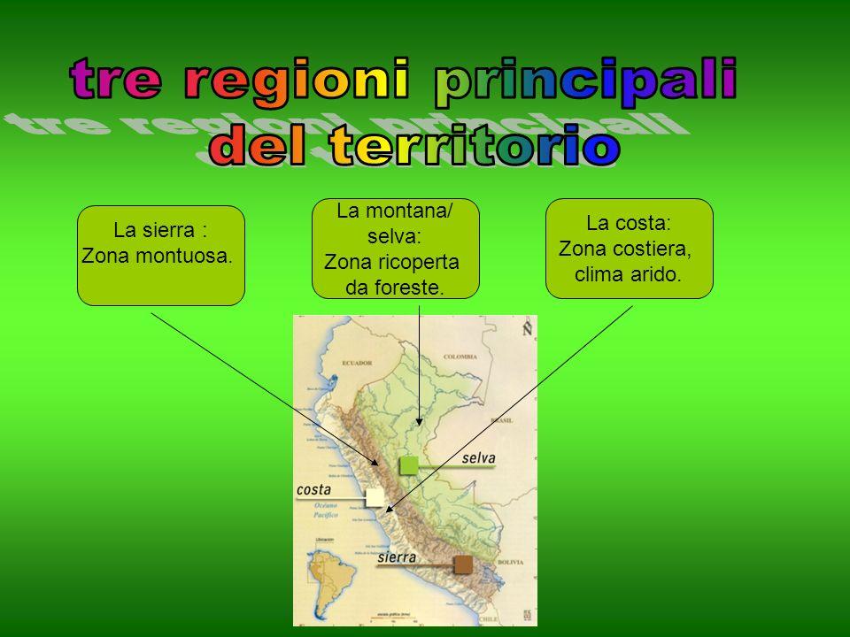 La costa: Zona costiera, clima arido.La montana/ selva: Zona ricoperta da foreste.