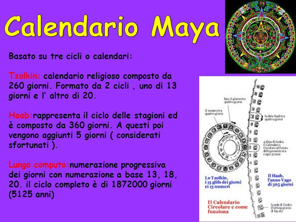Basato su tre cicli o calendari: Tzolkin: calendario religioso composto da 260 giorni. Formato da 2 cicli, uno di 13 giorni e l altro di 20. Haab:rapp