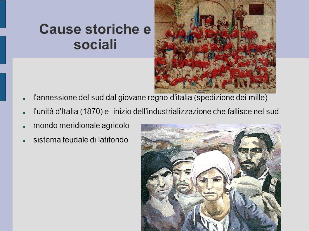 Cause storiche e sociali l'annessione del sud dal giovane regno d'italia (spedizione dei mille) l'unità d'Italia (1870) e inizio dell'industrializzazi