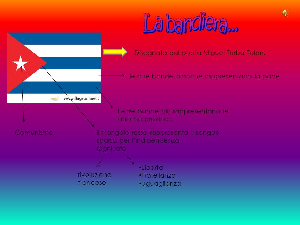 Disegnata dal poeta Miguel Turba Tolòn. Le tre bande blu rappresentano le antiche province le due bande bianche rappresentano la pace il triangolo ros