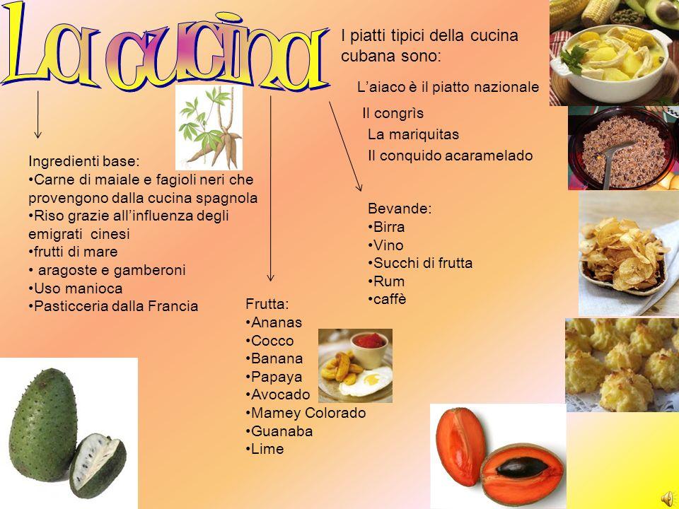 Ingredienti base: Carne di maiale e fagioli neri che provengono dalla cucina spagnola Riso grazie allinfluenza degli emigrati cinesi frutti di mare ar
