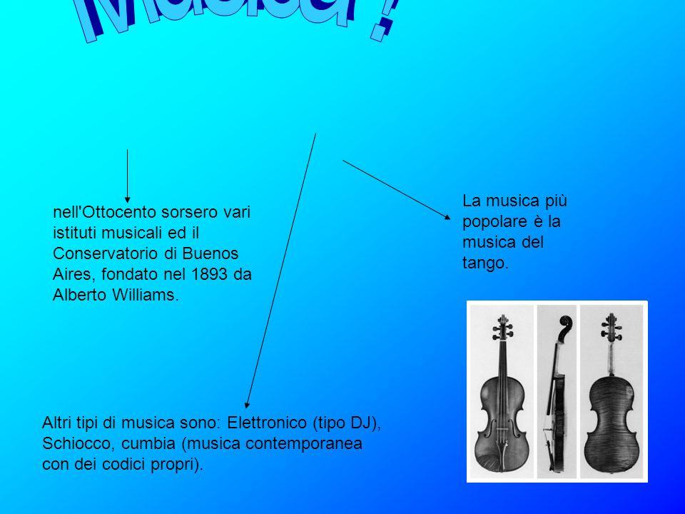 La musica più popolare è la musica del tango. Altri tipi di musica sono: Elettronico (tipo DJ), Schiocco, cumbia (musica contemporanea con dei codici