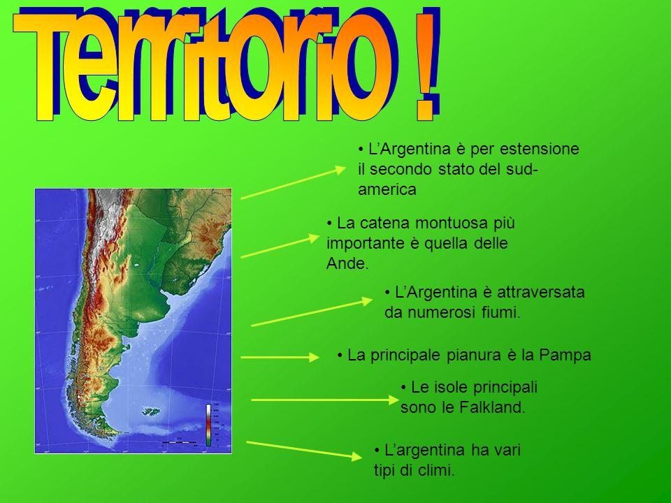 LArgentina è per estensione il secondo stato del sud- america La catena montuosa più importante è quella delle Ande. La principale pianura è la Pampa