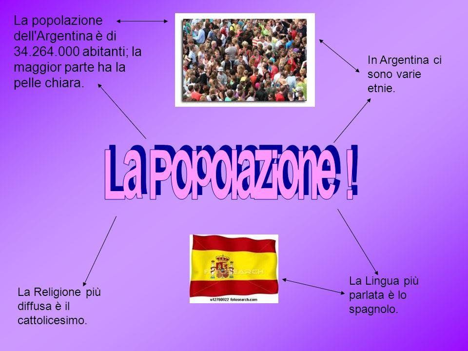 La popolazione dell'Argentina è di 34.264.000 abitanti; la maggior parte ha la pelle chiara. In Argentina ci sono varie etnie. La Lingua più parlata è