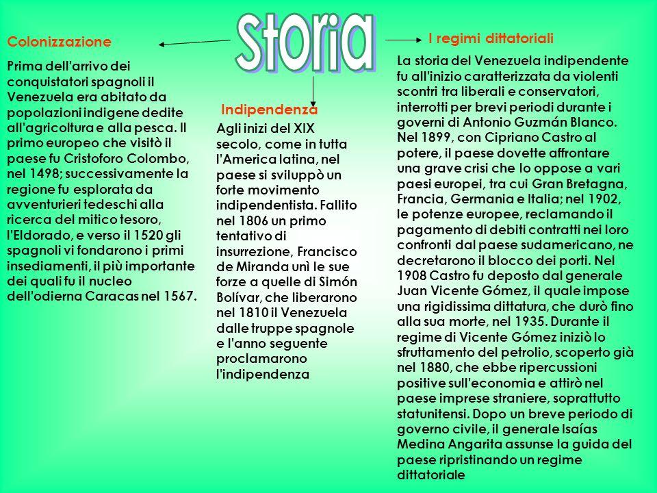 Colonizzazione Indipendenza I regimi dittatoriali Prima dell'arrivo dei conquistatori spagnoli il Venezuela era abitato da popolazioni indigene dedite