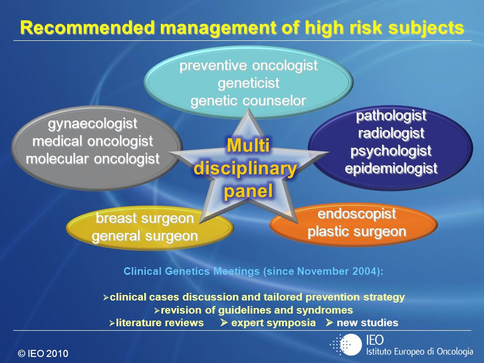 © IEO 2010 Recommended management of high risk subjects Clinical Genetics Meetings (since November 2004): clinical cases discussion and tailored preve