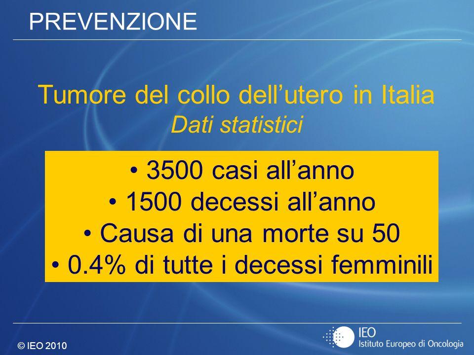 © IEO 2010 PREVENZIONE Tumore del collo dellutero in Italia Dati statistici 3500 casi allanno 1500 decessi allanno Causa di una morte su 50 0.4% di tu