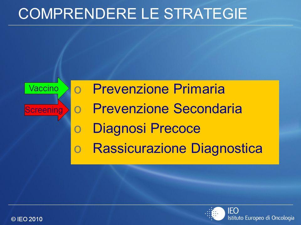 © IEO 2010 COMPRENDERE LE STRATEGIE oPrevenzione Primaria oPrevenzione Secondaria oDiagnosi Precoce oRassicurazione Diagnostica Screening Vaccino