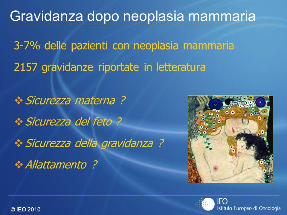 © IEO 2010 3-7% delle pazienti con neoplasia mammaria 2157 gravidanze riportate in letteratura Sicurezza materna ? Sicurezza del feto ? Sicurezza dell