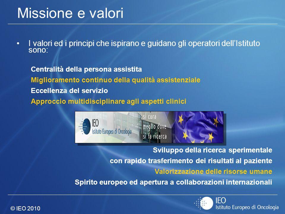 © IEO 2010 Missione e valori I valori ed i principi che ispirano e guidano gli operatori dellIstituto sono: Centralità della persona assistita Miglior