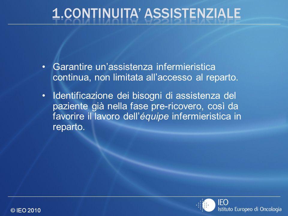 © IEO 2010 Garantire unassistenza infermieristica continua, non limitata allaccesso al reparto. Identificazione dei bisogni di assistenza del paziente