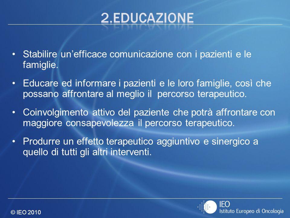 © IEO 2010 Stabilire unefficace comunicazione con i pazienti e le famiglie. Educare ed informare i pazienti e le loro famiglie, così che possano affro