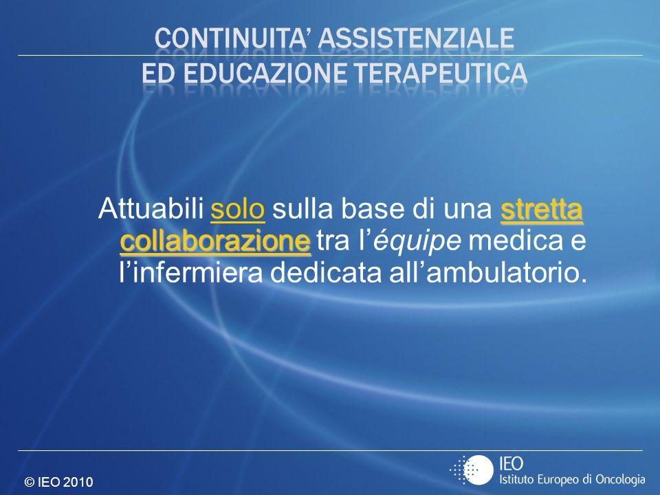 © IEO 2010 stretta collaborazione Attuabili solo sulla base di una stretta collaborazione tra léquipe medica e linfermiera dedicata allambulatorio.