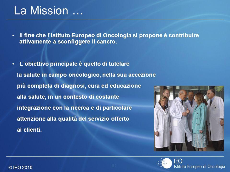 © IEO 2010 61 La Mission … Il fine che lIstituto Europeo di Oncologia si propone è contribuire attivamente a sconfiggere il cancro. Lobiettivo princip