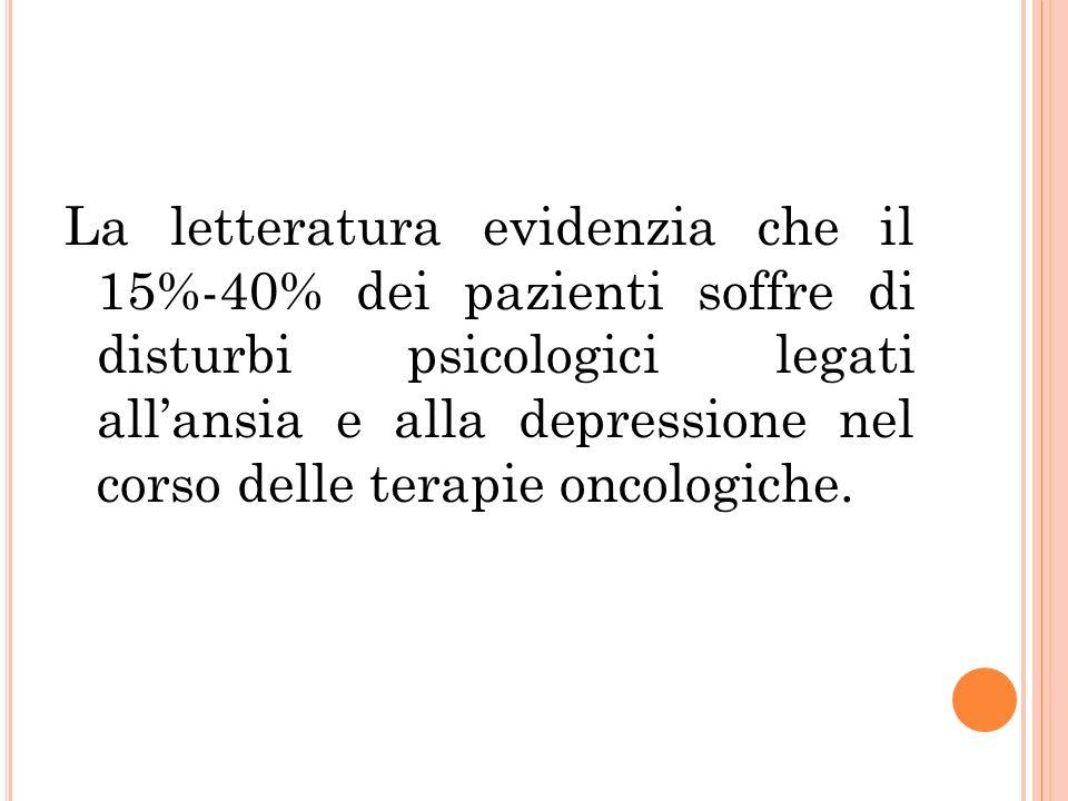 La letteratura evidenzia che il 15%-40% dei pazienti soffre di disturbi psicologici legati allansia e alla depressione nel corso delle terapie oncolog