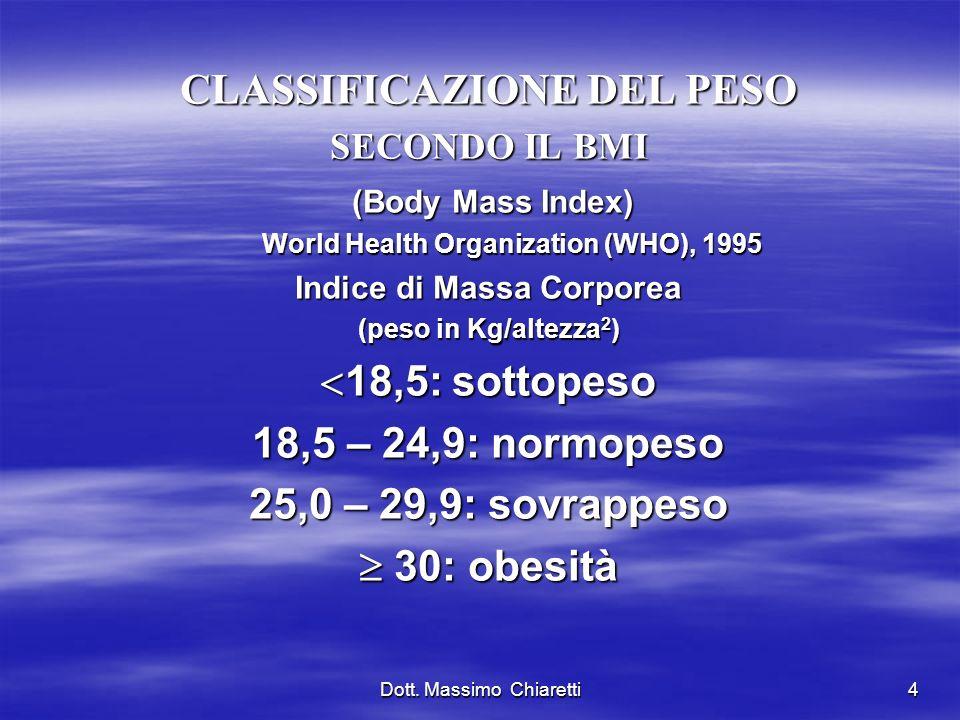 4 CLASSIFICAZIONE DEL PESO SECONDO IL BMI (Body Mass Index) (Body Mass Index) World Health Organization (WHO), 1995 Indice di Massa Corporea (peso in Kg/altezza 2 ) 18,5: sottopeso 18,5: sottopeso 18,5 – 24,9: normopeso 25,0 – 29,9: sovrappeso 30: obesità 30: obesità Dott.
