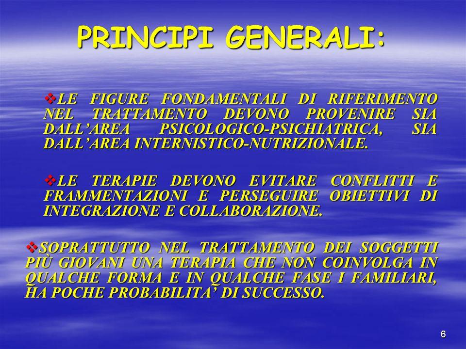 6 PRINCIPI GENERALI: LE FIGURE FONDAMENTALI DI RIFERIMENTO NEL TRATTAMENTO DEVONO PROVENIRE SIA DALLAREA PSICOLOGICO-PSICHIATRICA, SIA DALLAREA INTERNISTICO-NUTRIZIONALE.