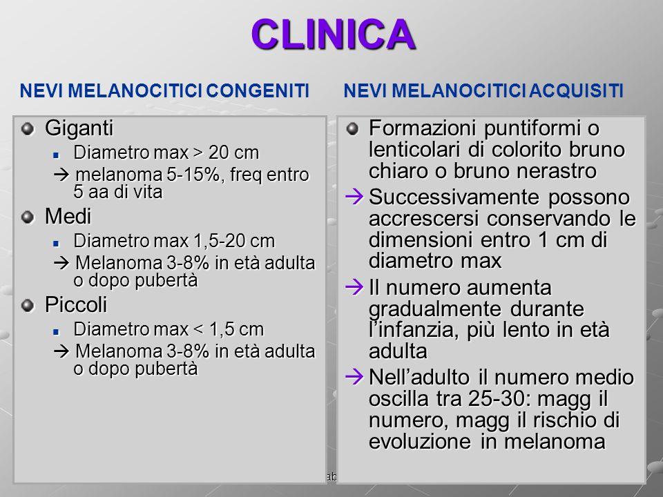Dott.ssa Elisabetta MuccioliCLINICAGiganti Diametro max > 20 cm Diametro max > 20 cm melanoma 5-15%, freq entro 5 aa di vita melanoma 5-15%, freq entro 5 aa di vitaMedi Diametro max 1,5-20 cm Diametro max 1,5-20 cm Melanoma 3-8% in età adulta o dopo pubertà Melanoma 3-8% in età adulta o dopo pubertàPiccoli Diametro max < 1,5 cm Diametro max < 1,5 cm Melanoma 3-8% in età adulta o dopo pubertà Melanoma 3-8% in età adulta o dopo pubertà Formazioni puntiformi o lenticolari di colorito bruno chiaro o bruno nerastro Successivamente possono accrescersi conservando le dimensioni entro 1 cm di diametro max Successivamente possono accrescersi conservando le dimensioni entro 1 cm di diametro max Il numero aumenta gradualmente durante linfanzia, più lento in età adulta Il numero aumenta gradualmente durante linfanzia, più lento in età adulta Nelladulto il numero medio oscilla tra 25-30: magg il numero, magg il rischio di evoluzione in melanoma Nelladulto il numero medio oscilla tra 25-30: magg il numero, magg il rischio di evoluzione in melanoma NEVI MELANOCITICI CONGENITINEVI MELANOCITICI ACQUISITI