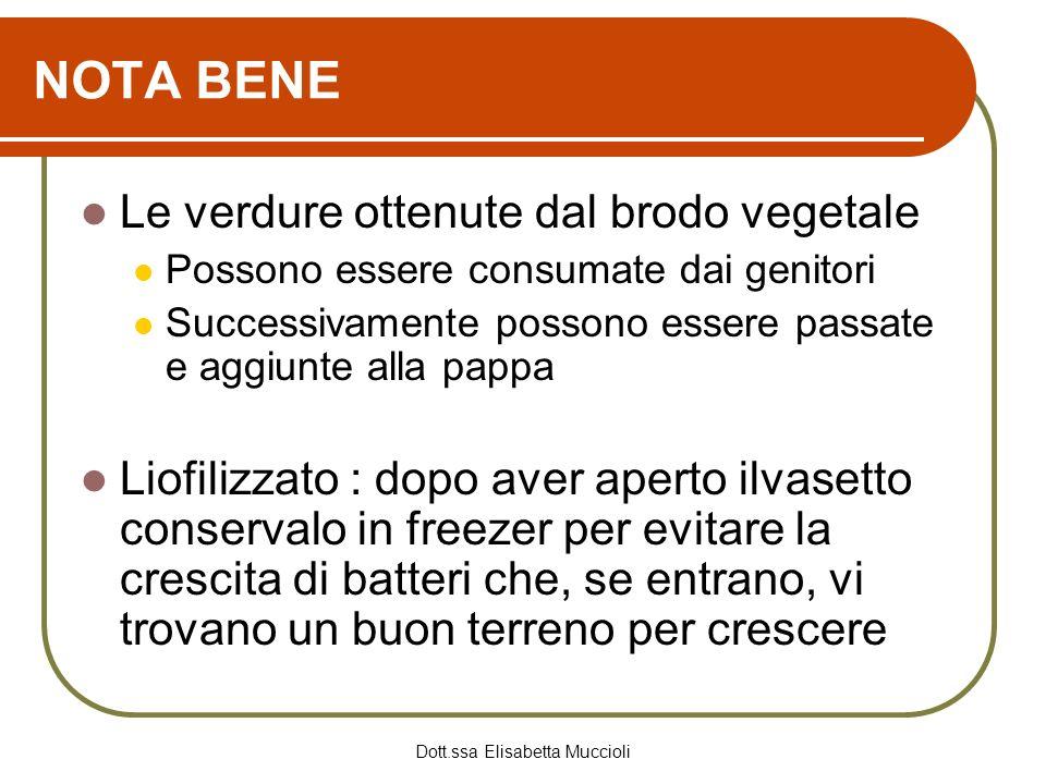 Dott.ssa Elisabetta Muccioli NOTA BENE Le verdure ottenute dal brodo vegetale Possono essere consumate dai genitori Successivamente possono essere pas