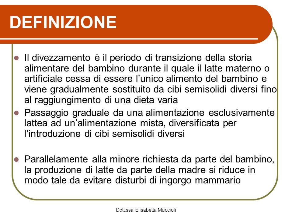Dott.ssa Elisabetta Muccioli DEFINIZIONE Il divezzamento è il periodo di transizione della storia alimentare del bambino durante il quale il latte mat