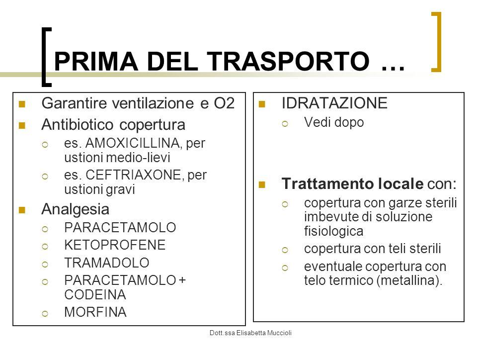 Dott.ssa Elisabetta Muccioli PRIMA DEL TRASPORTO … Garantire ventilazione e O2 Antibiotico copertura es. AMOXICILLINA, per ustioni medio-lievi es. CEF
