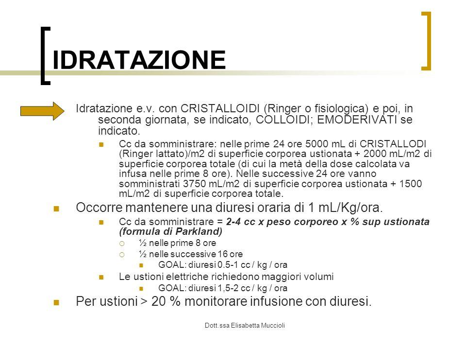 Dott.ssa Elisabetta Muccioli IDRATAZIONE Idratazione e.v. con CRISTALLOIDI (Ringer o fisiologica) e poi, in seconda giornata, se indicato, COLLOIDI; E