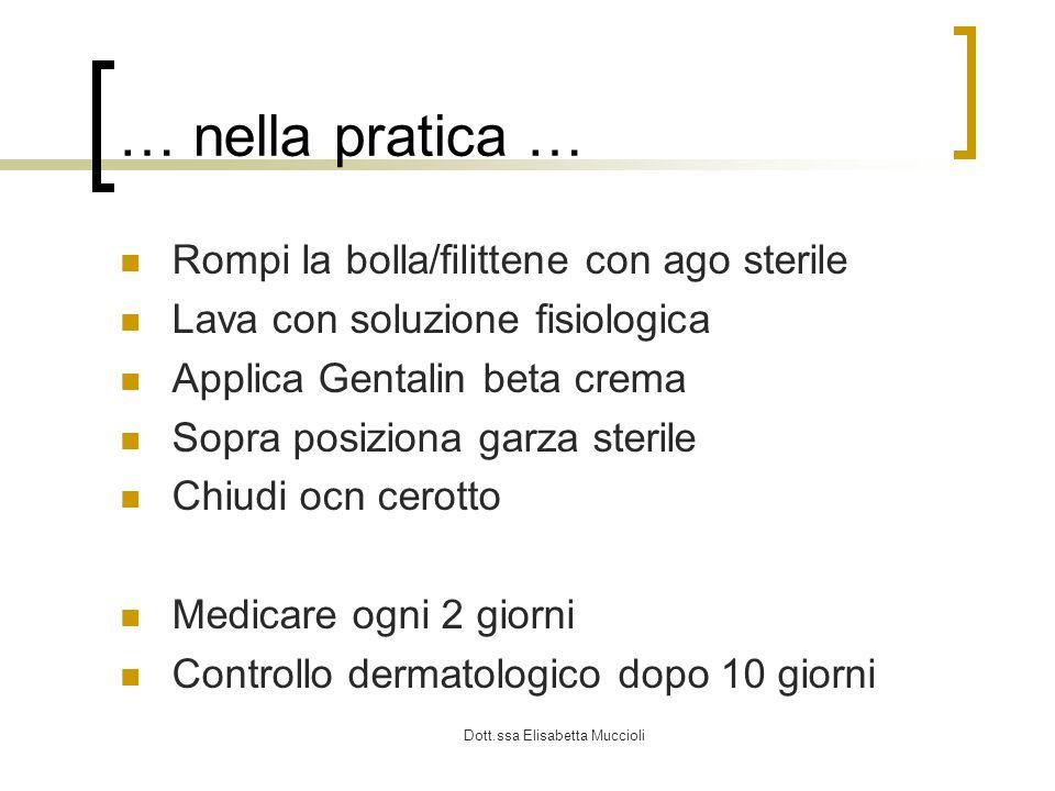 Dott.ssa Elisabetta Muccioli … nella pratica … Rompi la bolla/filittene con ago sterile Lava con soluzione fisiologica Applica Gentalin beta crema Sop