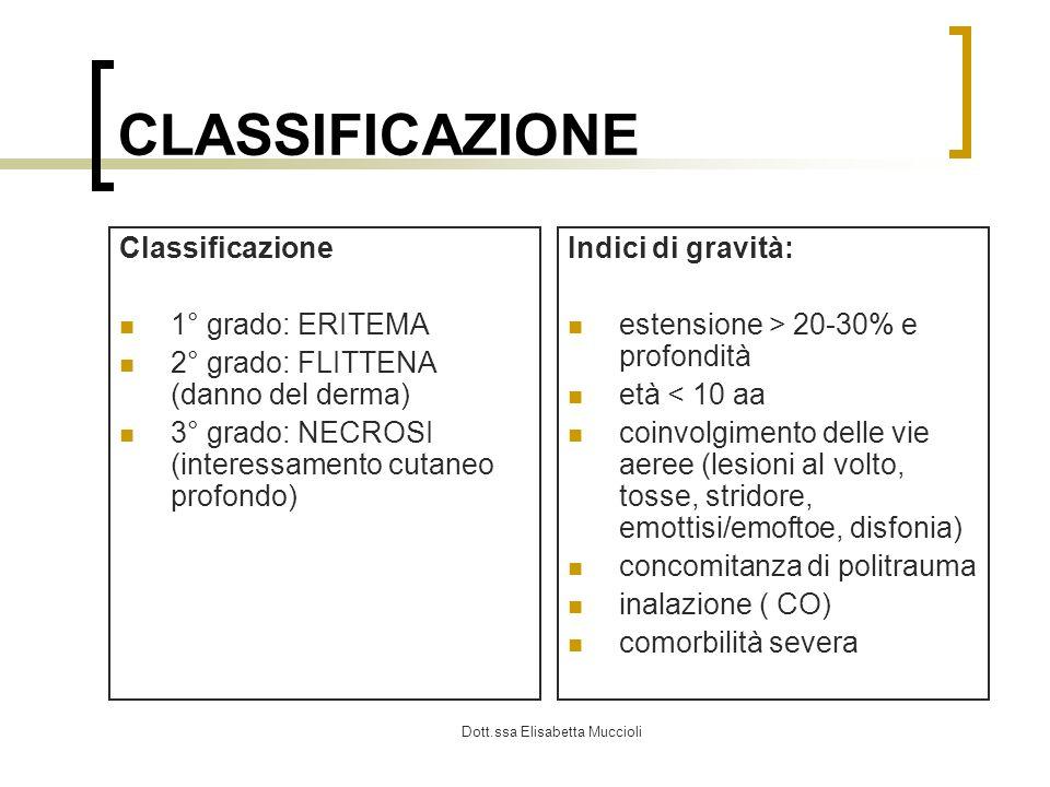 Dott.ssa Elisabetta Muccioli CLASSIFICAZIONE Classificazione 1° grado: ERITEMA 2° grado: FLITTENA (danno del derma) 3° grado: NECROSI (interessamento