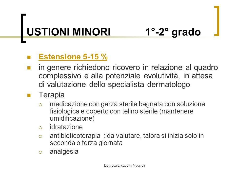 Dott.ssa Elisabetta Muccioli USTIONI MINORI1°-2° grado Estensione 5-15 % in genere richiedono ricovero in relazione al quadro complessivo e alla poten