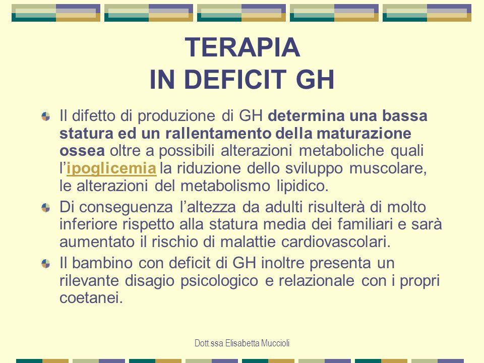 Dott.ssa Elisabetta Muccioli TERAPIA IN DEFICIT GH Il difetto di produzione di GH determina una bassa statura ed un rallentamento della maturazione os